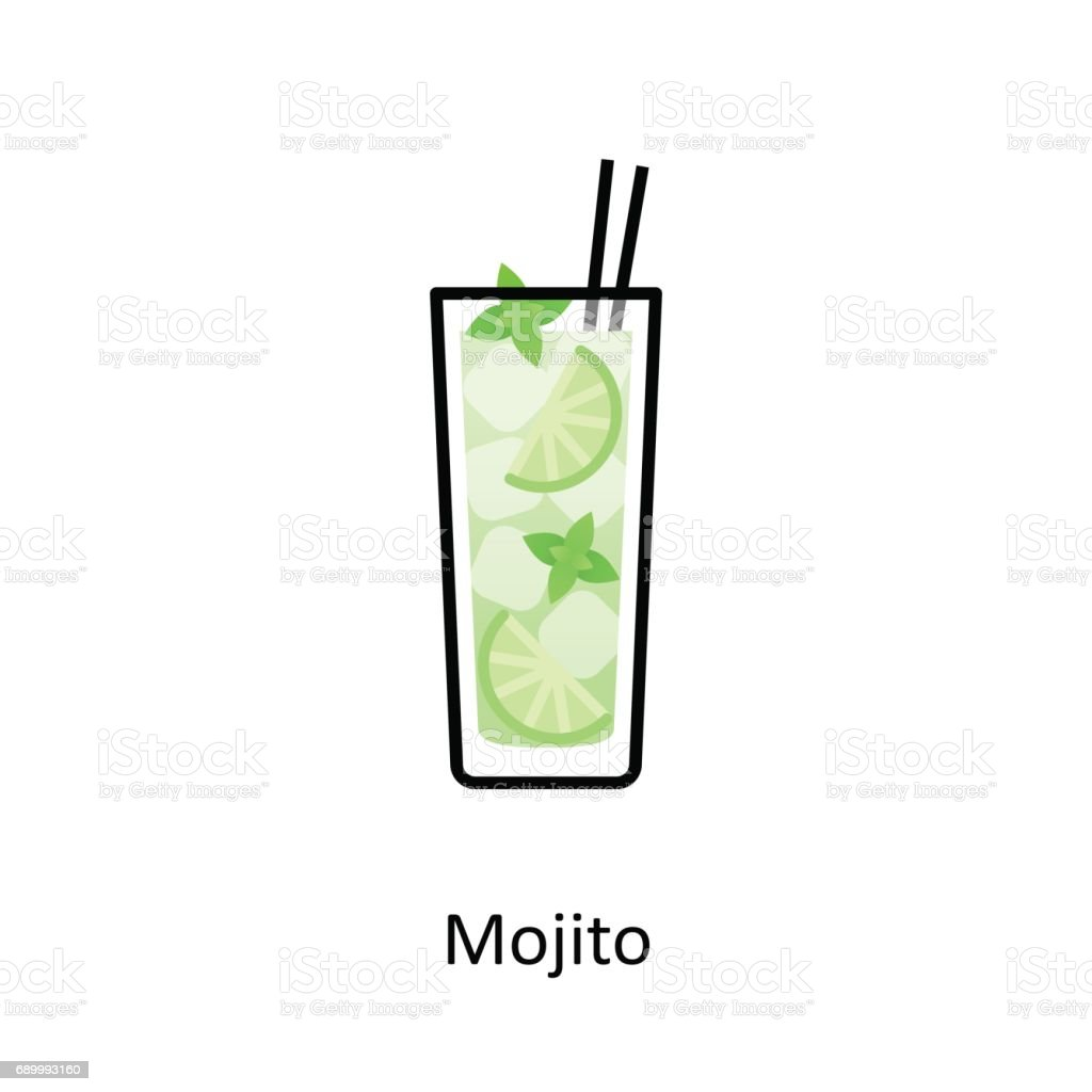 Mojito cocktail icon in flat style vector art illustration