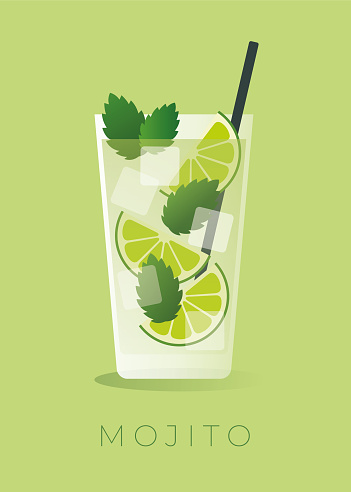 Mojito Cocktail on green background.
