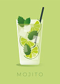 Mojito Cocktail on green background. Stock illustration