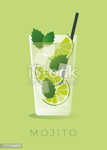 istock Mojito Cocktail on green background. 1212155322