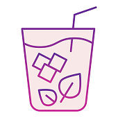 Mojito flat icon. Glass of drink violet icons in trendy flat style. Mint cocktail gradient style design, designed for web and app. Eps 10