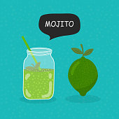 Mojito flat icon isolated on blue background. Simple Mojito sign symbol in flat style. Cocktail Vector illustration for web and mobile design.