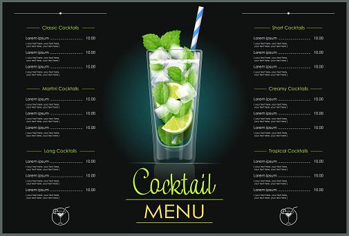 Mojito glass. Cocktail menu design.
