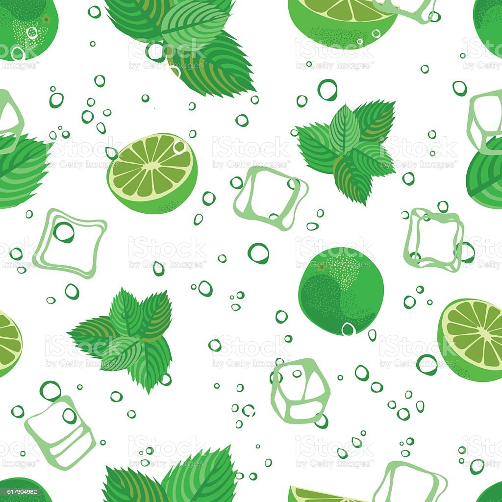 Mojito seamless pattern. Mojito green mint and lime vector background. vector art illustration