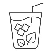 Mojito thin line icon. Glass of drink vector illustration isolated on white. Mint cocktail outline style design, designed for web and app. Eps 10
