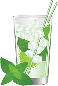 A glass of ice cold refreshing Mojito cocktail and some fresh mint. Mint leaves are on separate layer. Vector illustration.