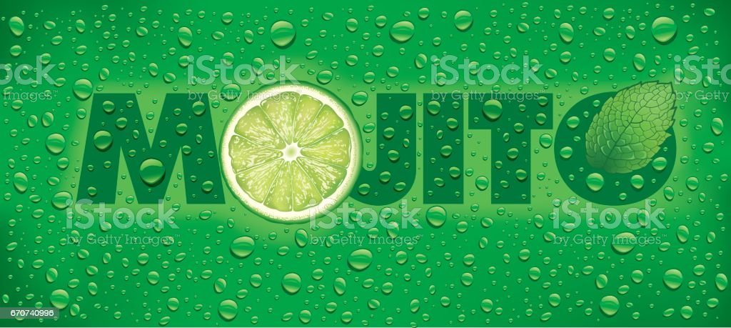 mojito with lime slice, mint leaf and many water drops vector art illustration
