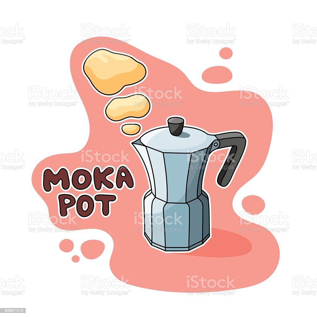 Moka Pot Coffee Maker vector art illustration