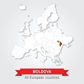 Moldova. Europe administrative map.