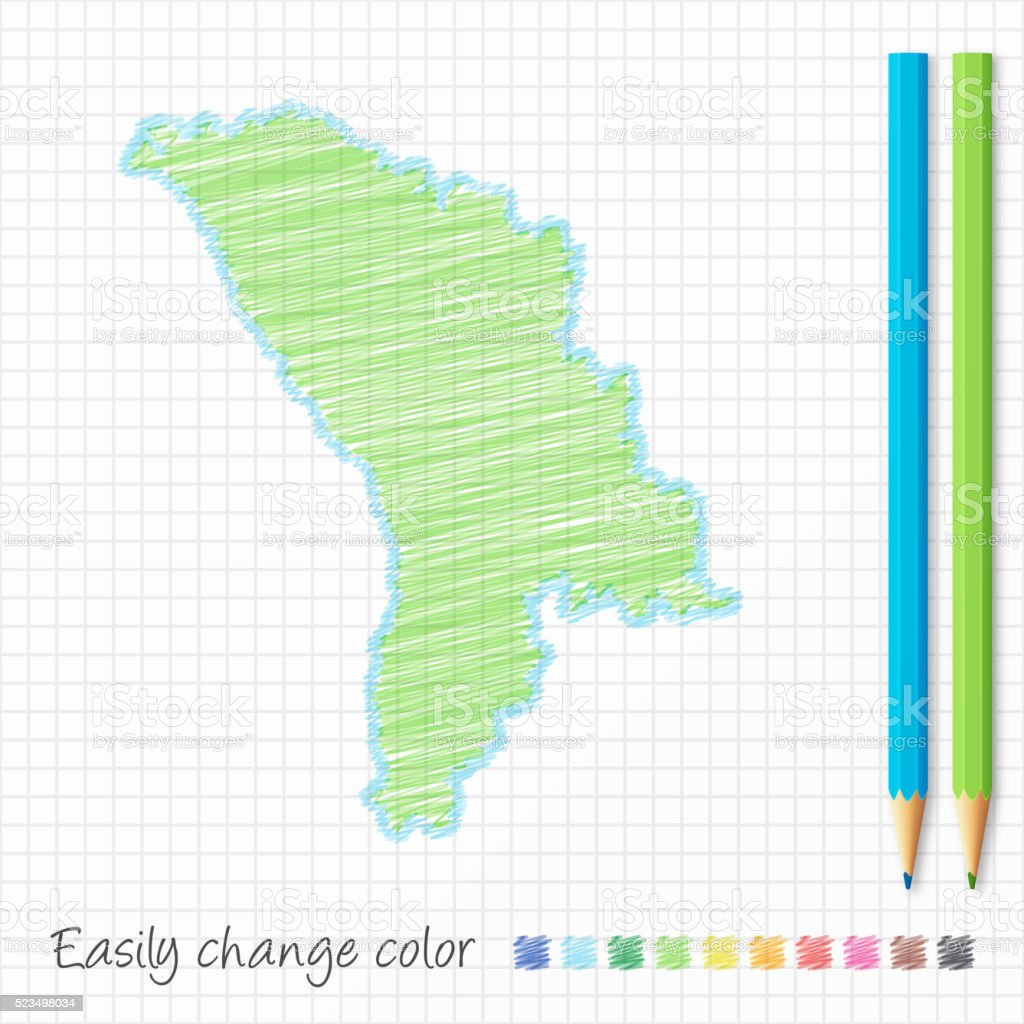 Moldova Map Sketch With Color Pencils On Grid Paper Stock Vector - Moldova map vector