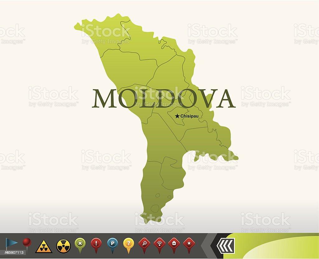 Moldawien Karte.Moldawien Karte Mit Navigation Symbole Stock Vektor Art Und Mehr