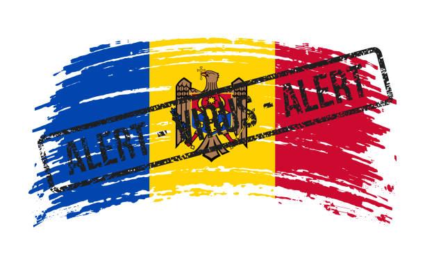 stockillustraties, clipart, cartoons en iconen met moldavië gescheurde vlag met een zegel met de woorden alarmvirus, vector - tears corona
