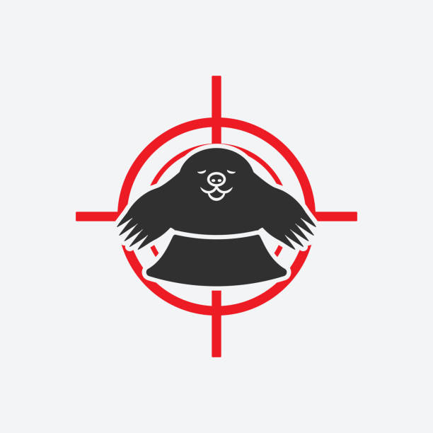 mole in hole. animal pest icon red target - square foot garden stock illustrations, clip art, cartoons, & icons