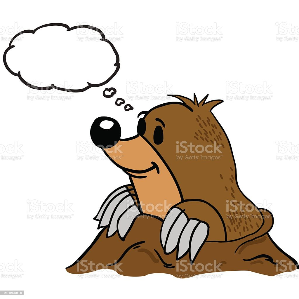 mole with thought bubble vector art illustration