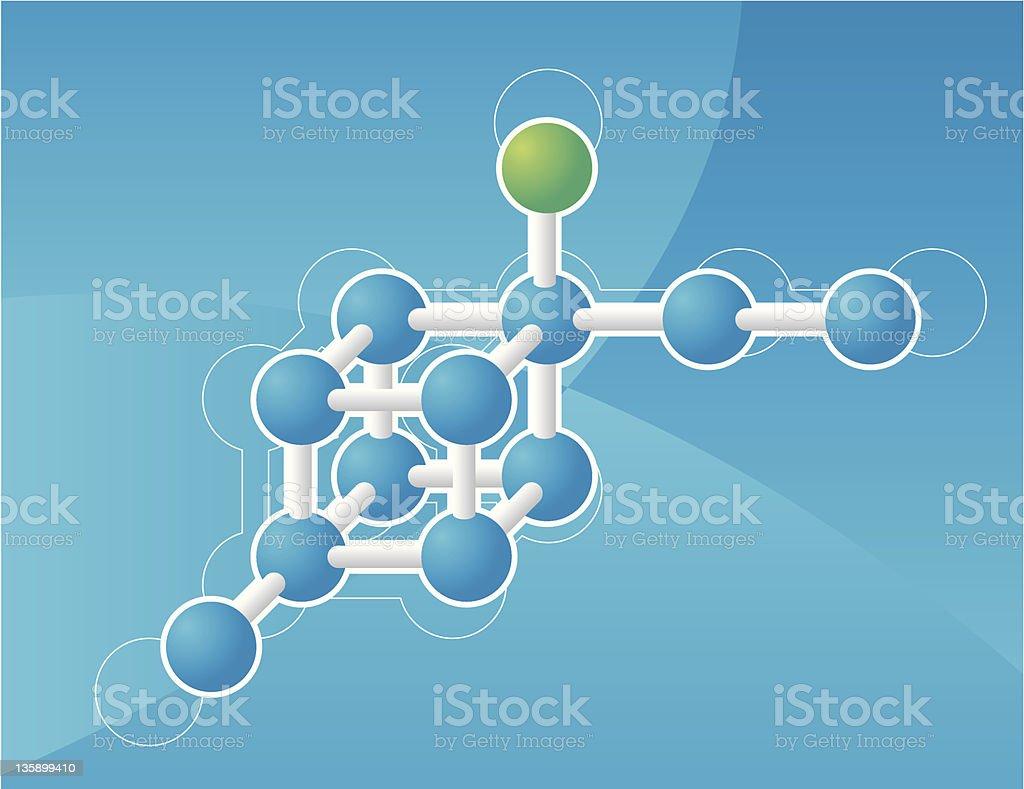 moleclule on blue royalty-free stock vector art