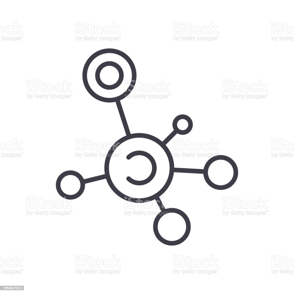 Molecular analysis black icon concept. Molecular analysis flat  vector symbol, sign, illustration. royalty-free molecular analysis black icon concept molecular analysis flat vector symbol sign illustration stock vector art & more images of analyzing
