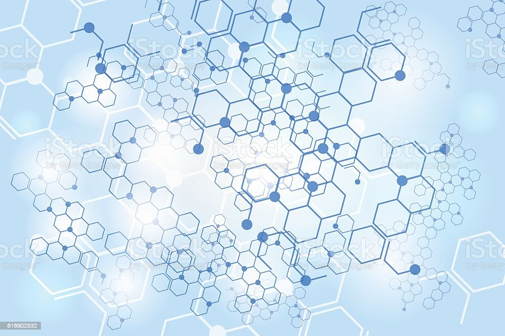 Molecular gene structure blue background vector art illustration