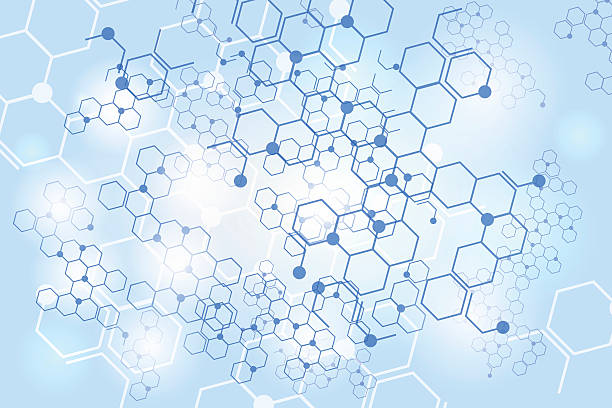 Molecular gene structure blue background Molecular gene structure blue background. Chemical network connection vector backdrop human cell stock illustrations