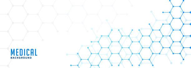 molekulare sechseckige Struktur Gesundheitsversorgung und medizinischer Hintergrund – Vektorgrafik