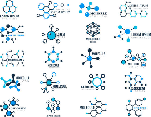 molecular logotypes. evolution concept formula chemistry genetic technology medical information node cell vector illustrations - konstrukcja budowlana stock illustrations