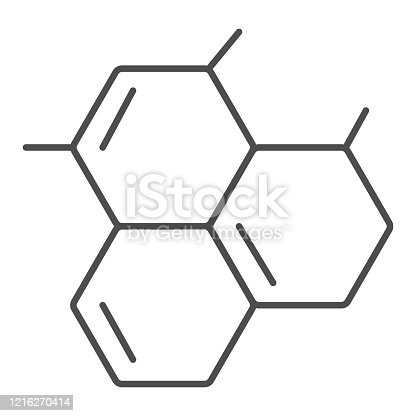 istock Molecular model thin line icon. Biology cell or molecule grid symbol, outline style pictogram on white background. Medicine or chemistry sign for mobile concept and web design. Vector graphics. 1216270414