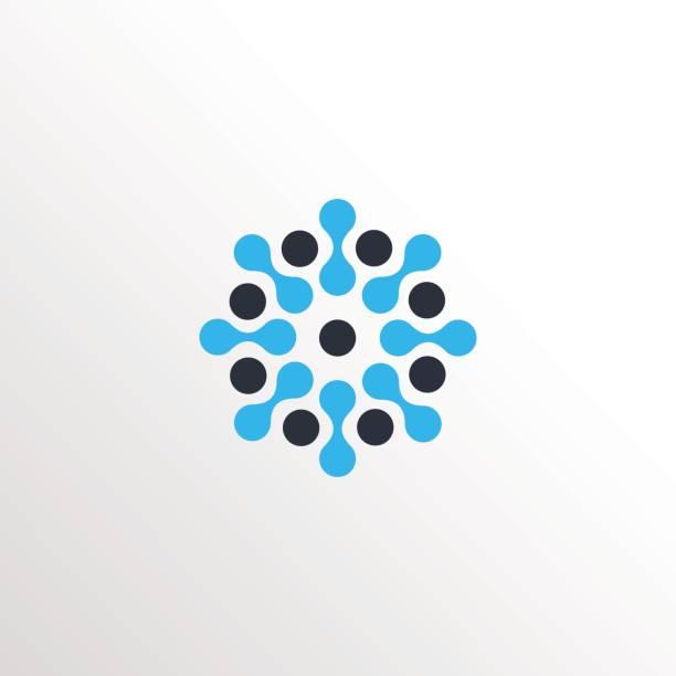 ilustraciones, imágenes clip art, dibujos animados e iconos de stock de icono de neurona molecular sol icono con fondo limpio - logos de médico