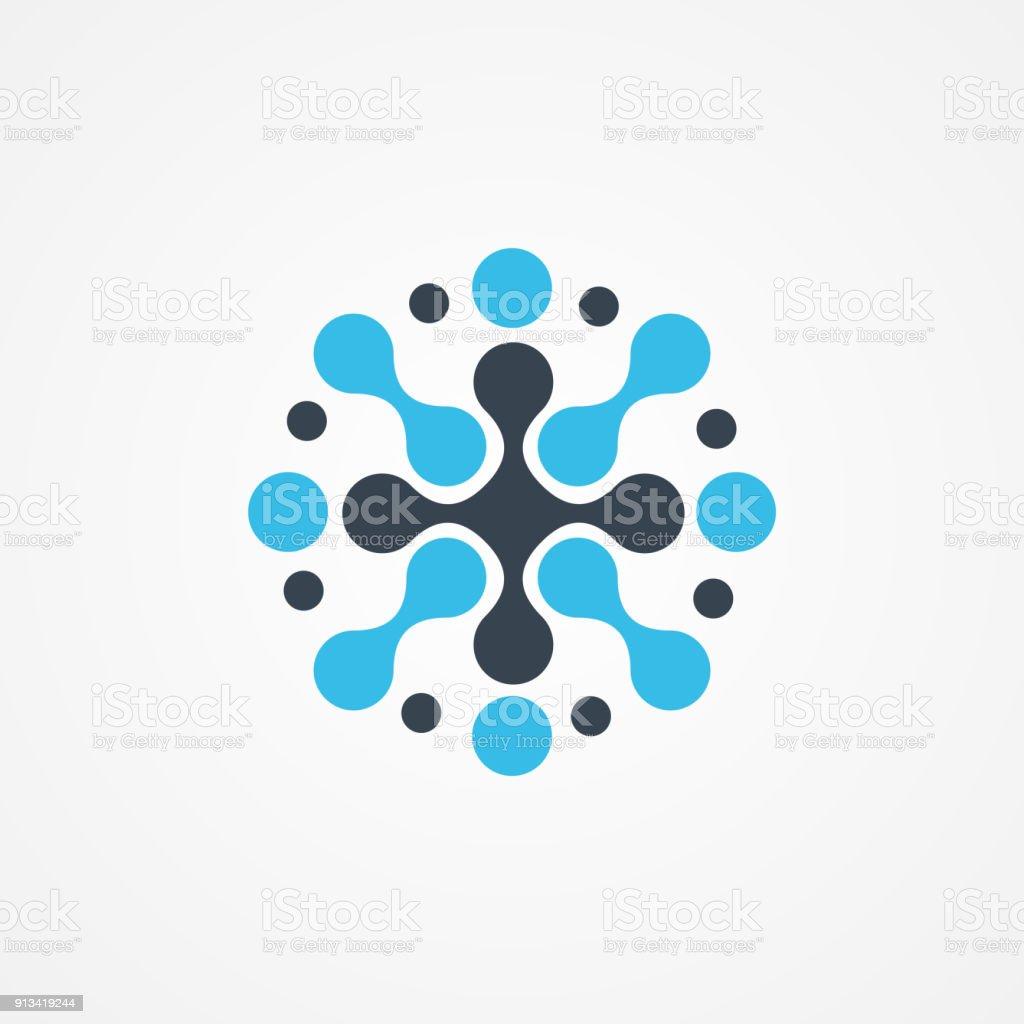 Molecular neuron with cross icon vector art illustration