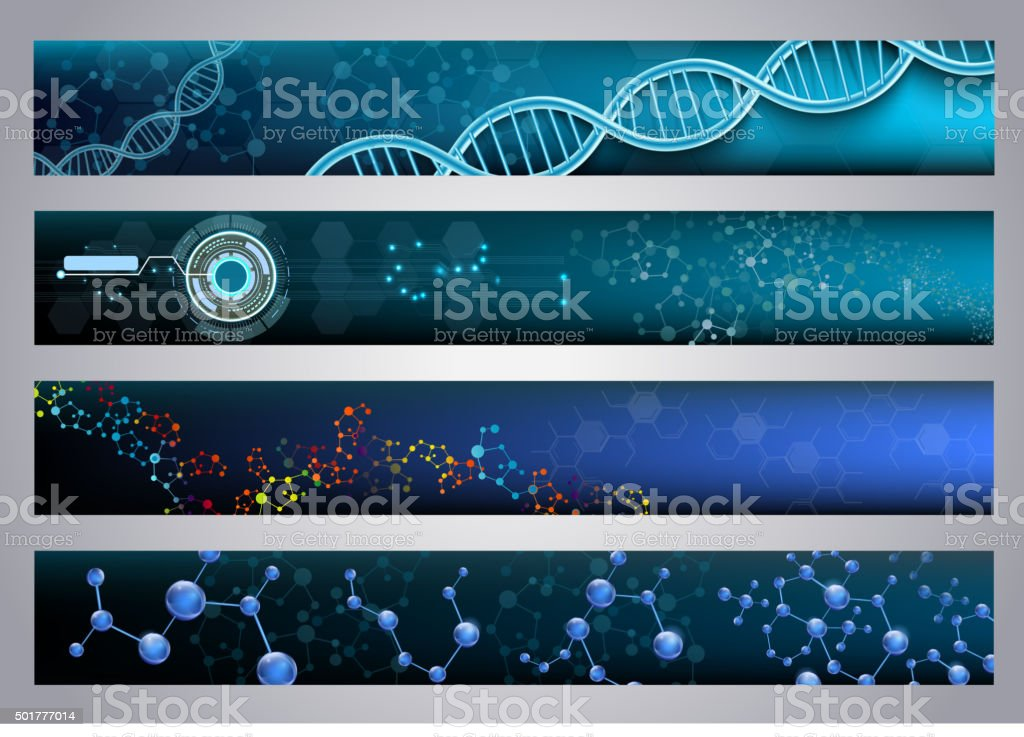 Molecular structure and DNA banners background. Vector vector art illustration