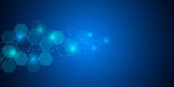 illustrazioni stock, clip art, cartoni animati e icone di tendenza di molecular structure background. abstract background with molecule dna. geometric shape with hexagons - sfondo scienza e tecnologia