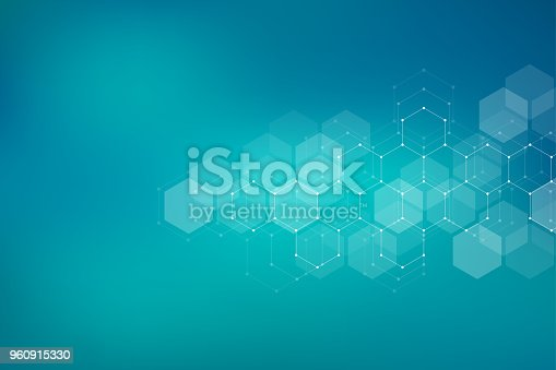 Molecular structure background. Abstract background with molecule DNA. Geometric shape with hexagons