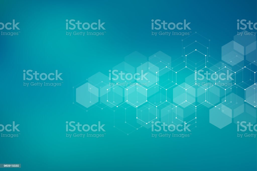 Molecular structure background. Abstract background with molecule DNA. Geometric shape with hexagons vector art illustration