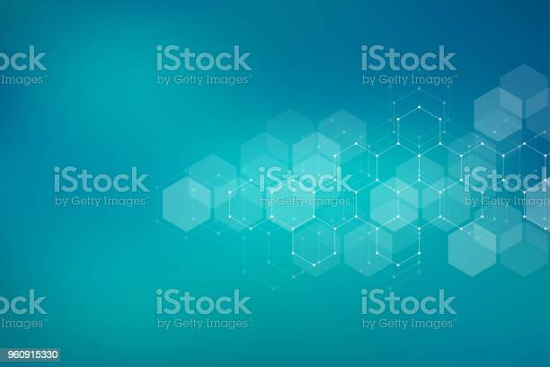 Molecular Structure Background Abstract Background With Molecule Dna Geometric Shape With Hexagons Stock Illustration - Download Image Now