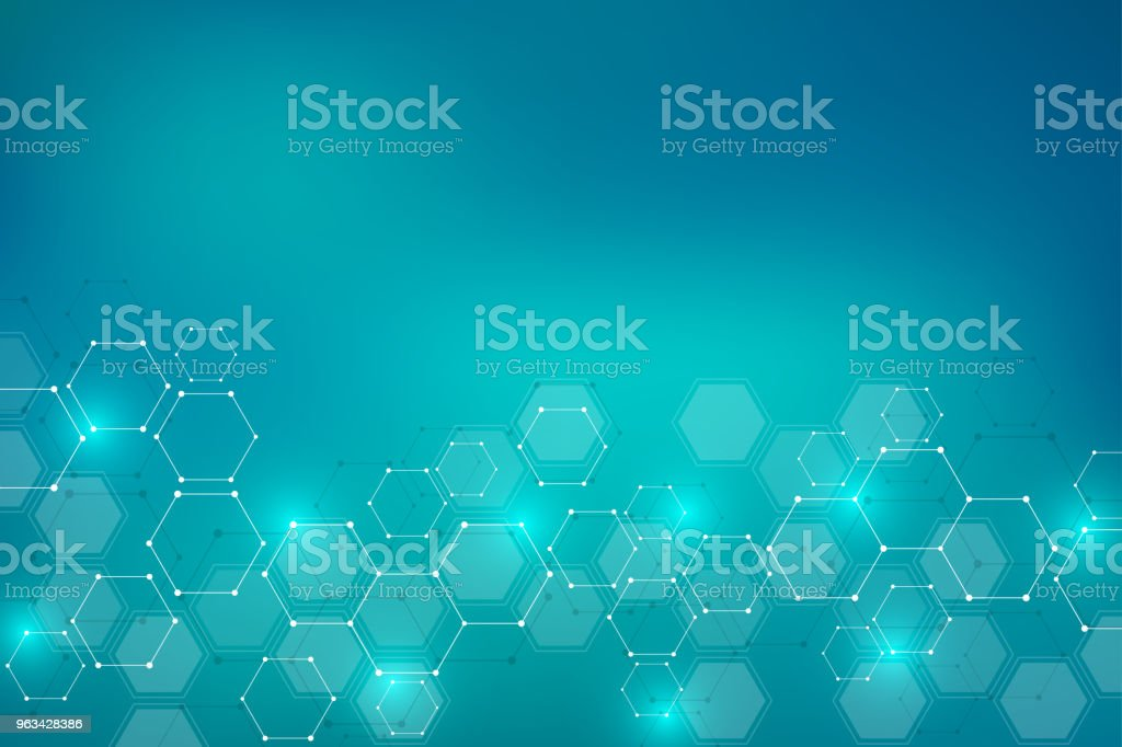 Molecular structure background. Abstract background with molecule DNA. Geometric shape with hexagons - Grafika wektorowa royalty-free (Abstrakcja)
