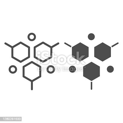 istock Molecular structure line and solid icon, Medical tests concept, DNA test sign on white background, molecule icon in outline style for mobile concept and web design. Vector graphics. 1280261533