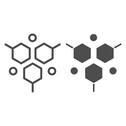 Molecular structure line and solid icon, Medical tests concept, DNA test sign on white background, molecule icon in outline style for mobile concept and web design. Vector graphics