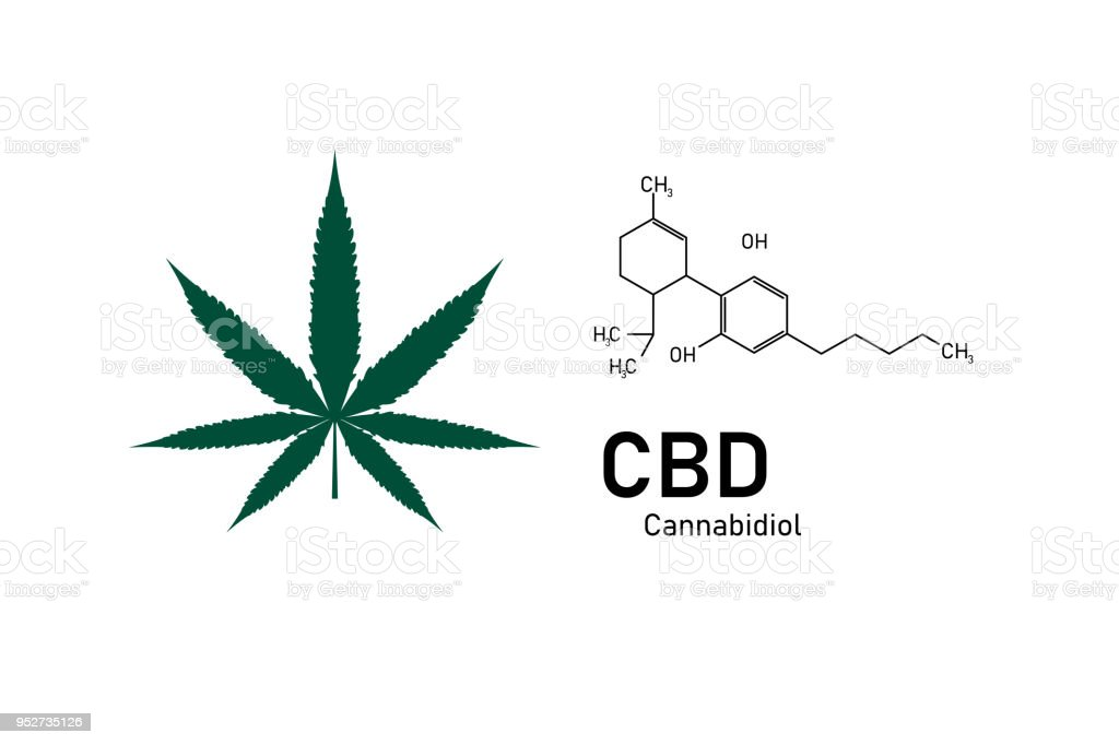 structure moléculaire chimie médicale formule cannabis de la formule CDB, illustration vectorielle - Illustration vectorielle