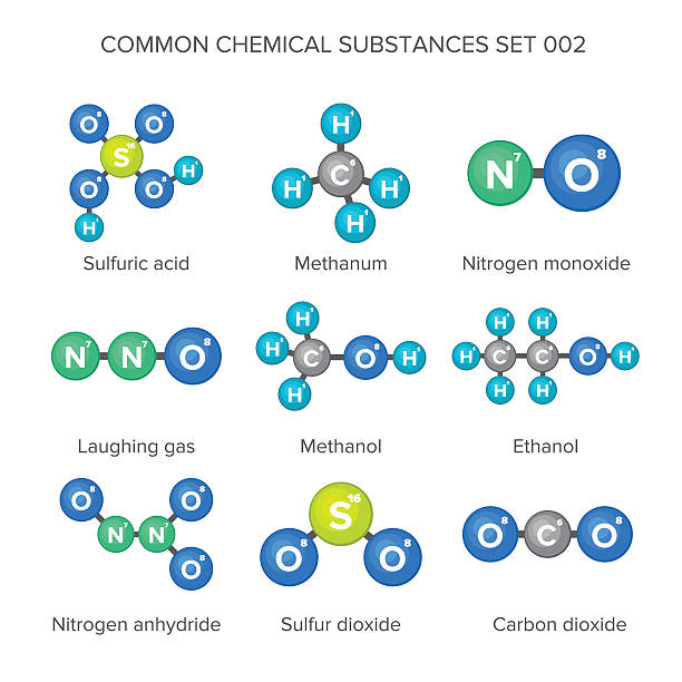 Molecular structures of common chemical substances Molecular structures of common chemical substances nitrous oxide stock illustrations