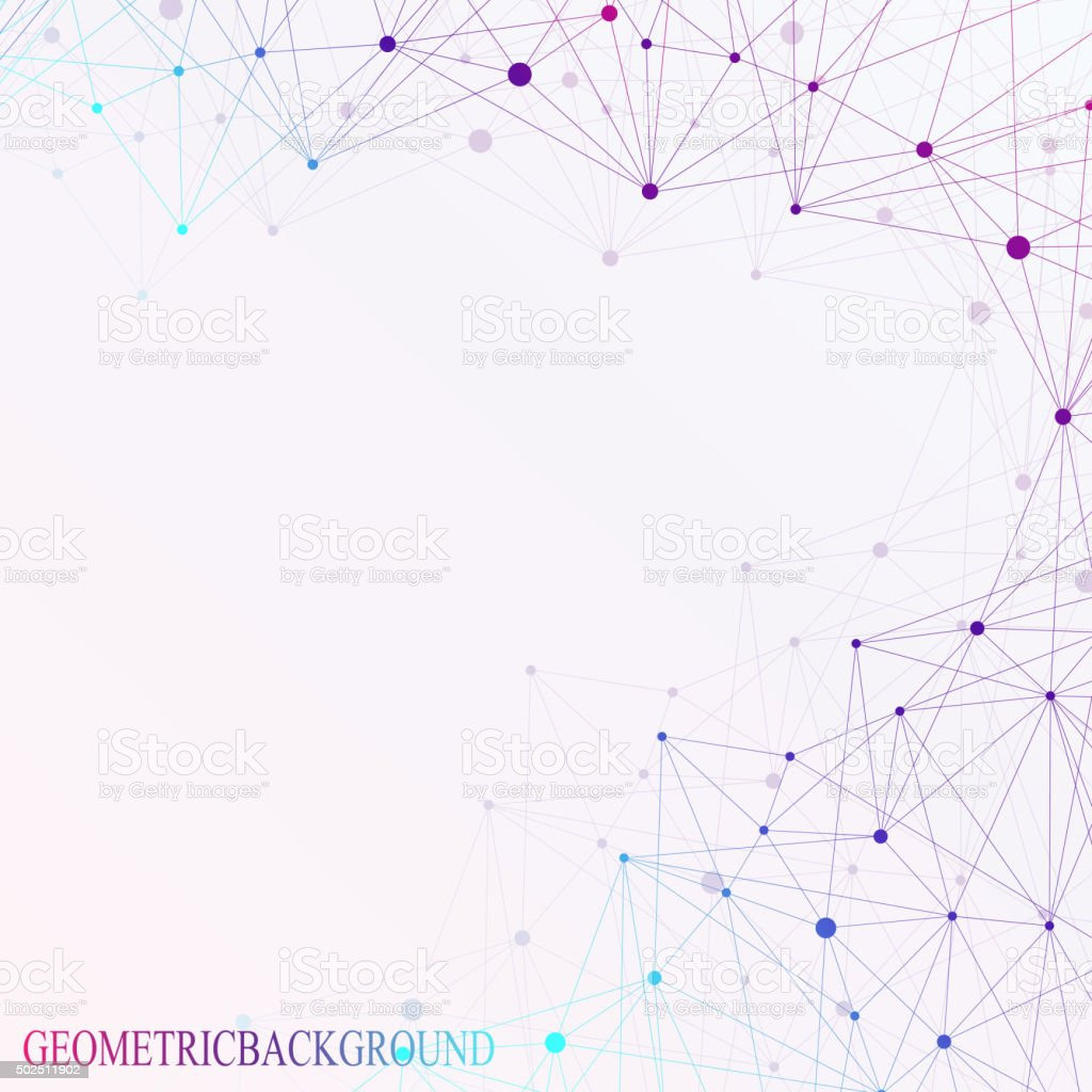 Molecule and communication with connected dots, lines. Graphic background for vector art illustration