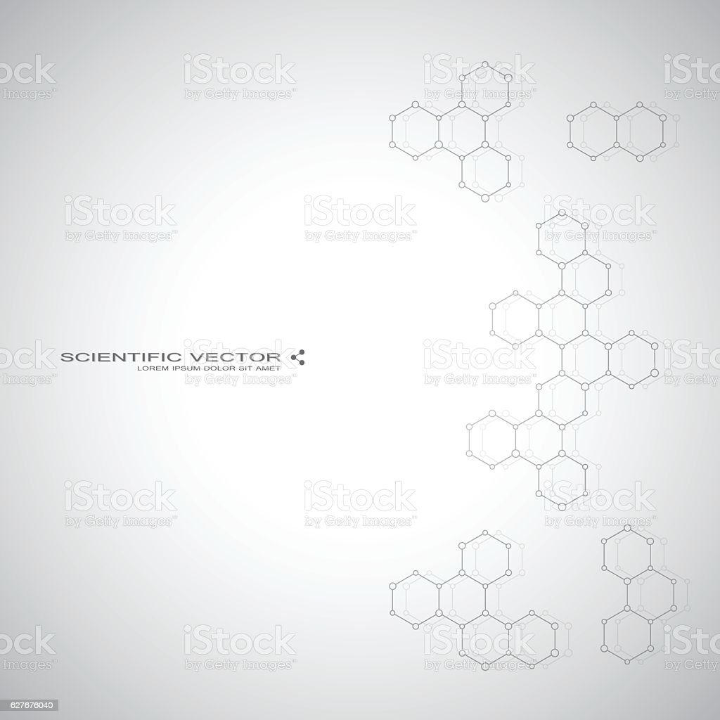 Molecule DNA and neurons vector. Molecular structure. Connected lines with vector art illustration
