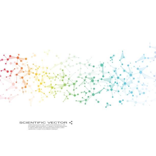 ilustrações, clipart, desenhos animados e ícones de molécula dna e neurônios vetor. estrutura molecular. linhas conectadas com pontos. genética de compostos químicos. química, medicina, ciência, conceito de tecnologia. abstrato geométrico - planos de fundo de ciências