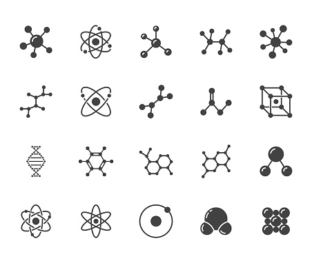 Molecule flat glyph icons set. Chemistry science, molecular structure, chemical laboratory dna cell protein vector illustrations. Signs scientific research. Silhouette pictogram pixel perfect 64x64.