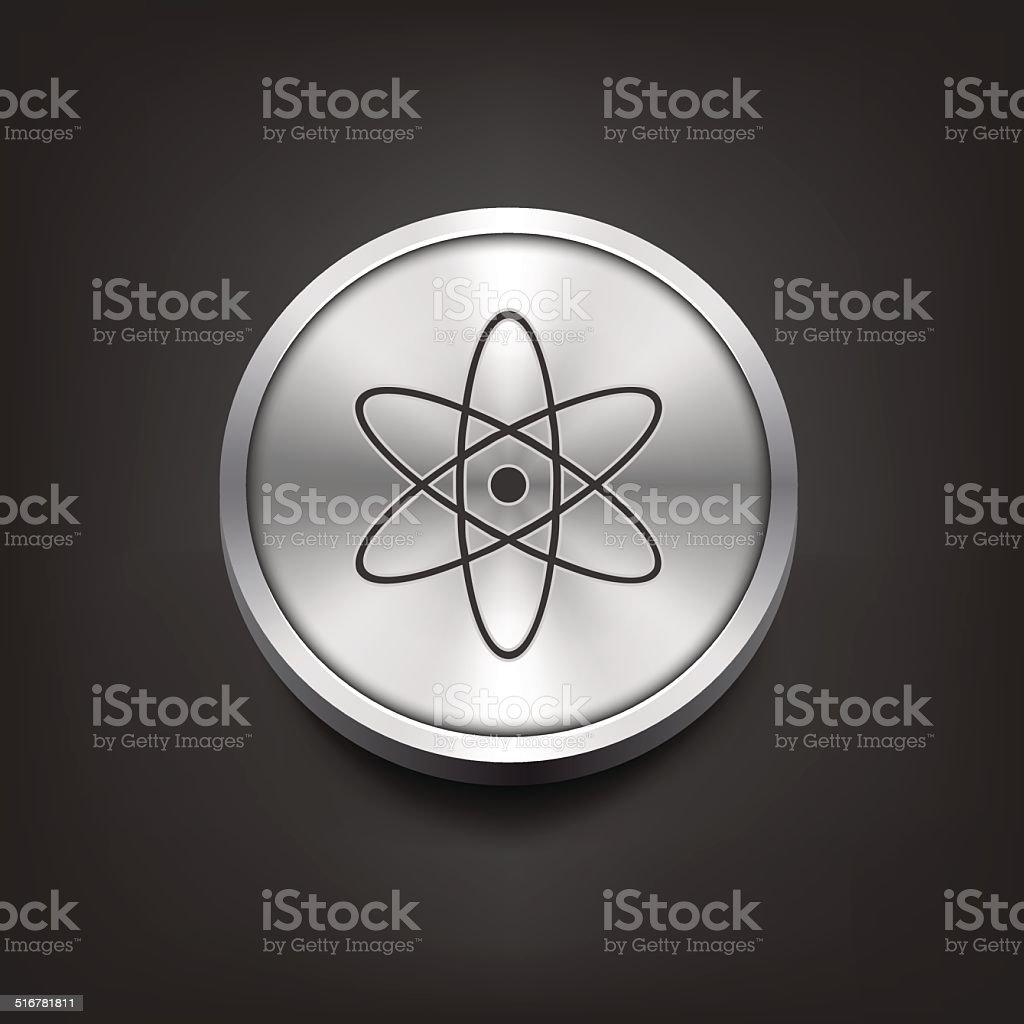 Molecule icon on silver button vector art illustration
