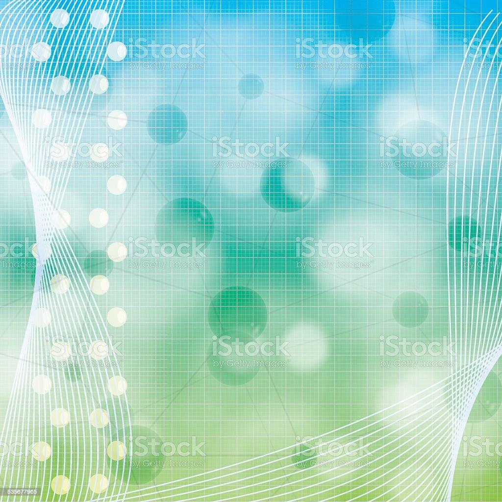 Molecule illustration blue green background vector art illustration