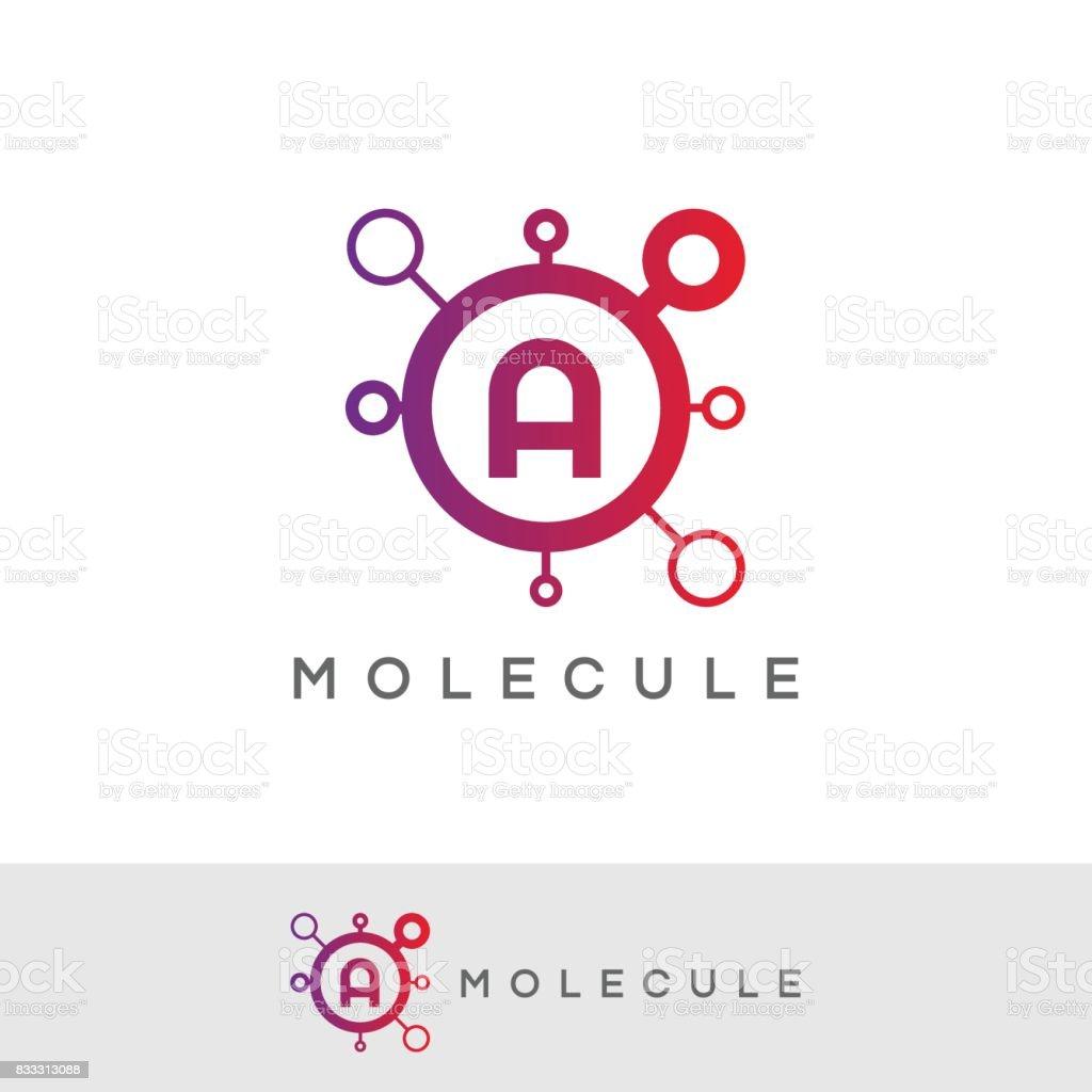 diseño de icono de la molécula inicial letra A - ilustración de arte vectorial