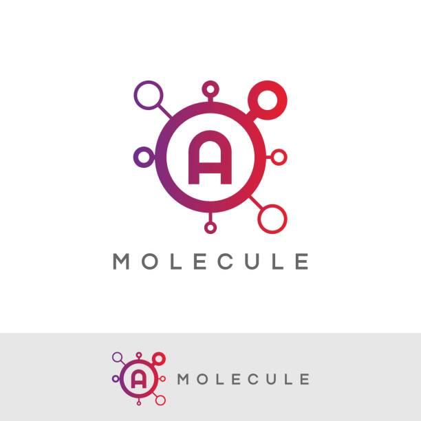 ilustraciones, imágenes clip art, dibujos animados e iconos de stock de diseño de icono de la molécula inicial letra a - logotipos de investigación