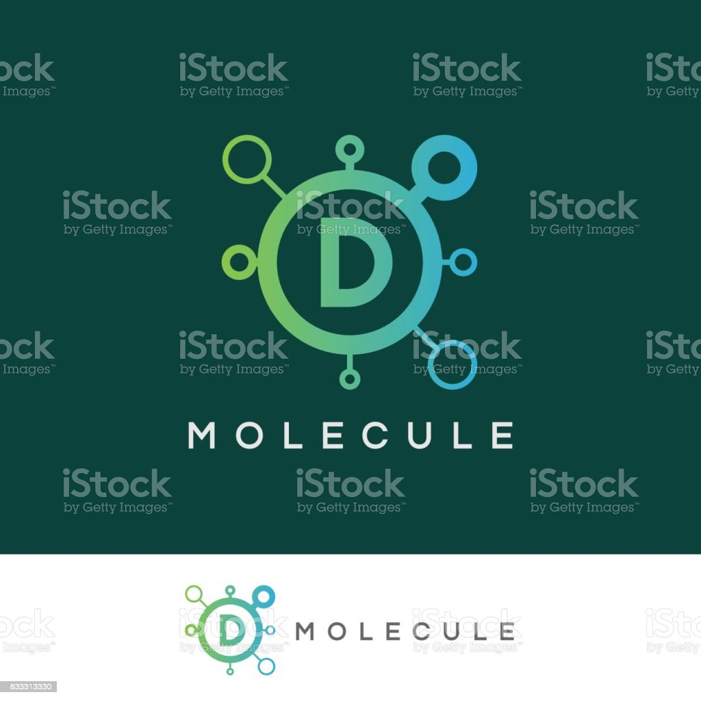 molecule initial Letter D icon design vector art illustration