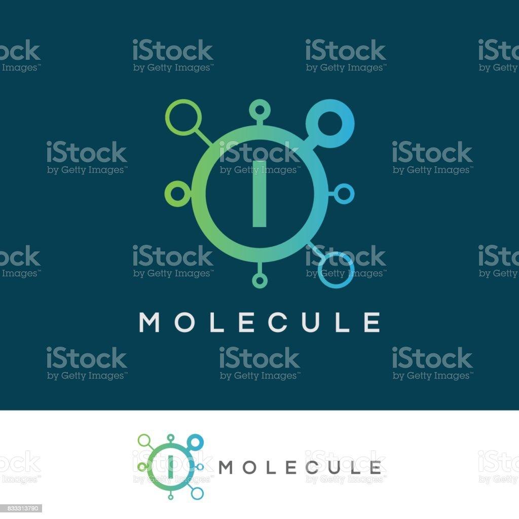 molecule initial Letter I icon design vector art illustration