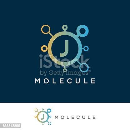 istock molecule initial Letter J icon design 833313896