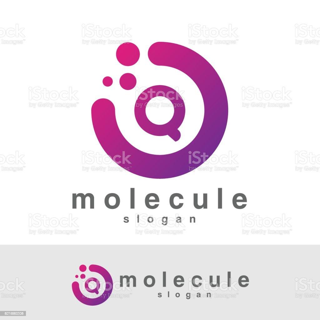 molecule initial Letter Q icon design vector art illustration