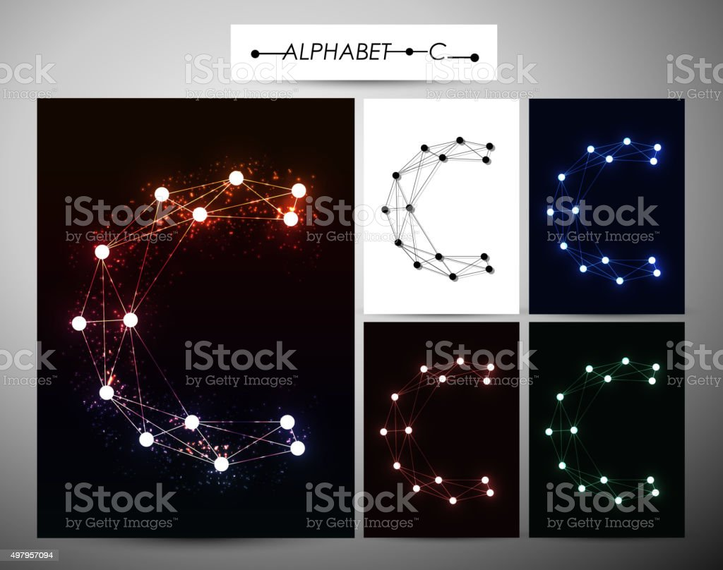 Molecule Letter C Trendy Alphabet Fonts Of Sparkling Brilliant Stock